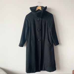Vintage Black Brushed Wool Coat Jacket Mod Medium